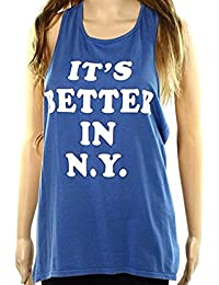 Max-MPH Retro Brand Womens Large Better In N.Y. Tank Top Blue L