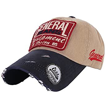 ililily Flexfit GANGNAM STYLE Vintage Distressed Pre-curved bill Fashion Design Text Logo patched on front and side Ball Cap Trucker Hat with Adjustable Strap (ballcap-558-5)
