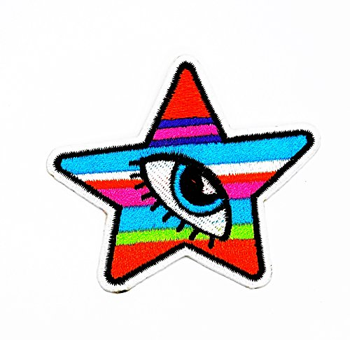 rabana Colorful Star mit viel Augen Sparkling Cartoon Kinder Patch für Heimwerker-Applikation Eisen auf Patch T Shirt Patch Sew Iron on gesticktes Badge Schild Kostüm