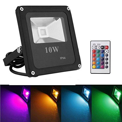 ABelle 10W LED Fluter RGB Mit 24 Tasten Fernbedienung, 16 Farben und 4 Beleuchtungs Programme, Wasserdicht IP66 LED Flutlicht Dekoration Spotbeleuchtung für Garten Bäume (Maske Dekorationen)