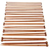 Foxnovo 18pairs /36pcs Professional Carbonized Bamboo Single Pointed Needles Crochet Knitting Needles (2.0mm-10mm)