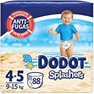 Dodot Pañales Bebé Bañador Splashers, Talla 4-5 (9-15 kg), 88 Pañales Desechables con Protección Anti-Fugas en