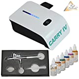 AIRBRUSH KOMPRESSOR SET für AIRBRUSH TATTOOS Airbrush Komplett Set AIRBRUSH TATTOO SET mit Mini Airbrush Kompressor, Airbrushpistole und Airbrush Farben Set – CARRY IV-TC (weiß) mit SENSOR-TOUCH-CONTROL - Airbrush Kompressor Komplett Tattoo Set