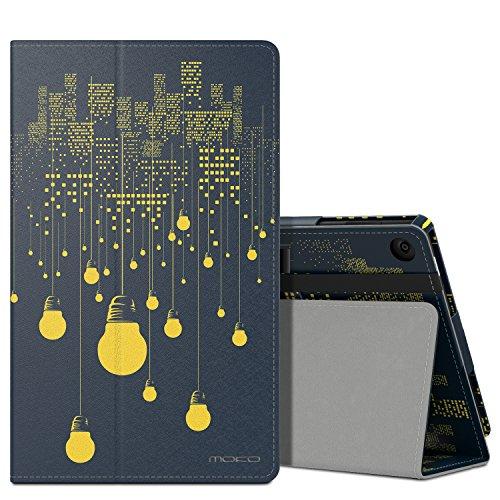 MoKo Hülle für Fire HD 2016 8 Zoll - Kunstleder Ständer Schutzhülle Smart Cover mit Auto Schlaf/Wach Funktion und Stift-Schleife für Fire HD Tablet (Vorherige 6. Generation - 2016), Nachtlicht (Amazon Fire-tablets 6-zubehör)