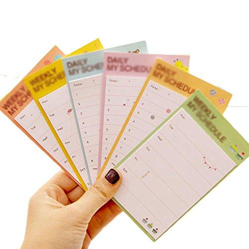 Oyfel Sticky notes memo notes calendario giornaliero Cube piano 30fogli quaderni cartine per studenti ufficio con un nastro biadesivo 6pcs