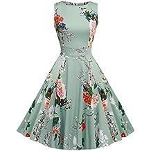 Acevog Mujer Vintage Vestido Años 50 Falda Impresión Floral Sin Mangas Vestidos ...