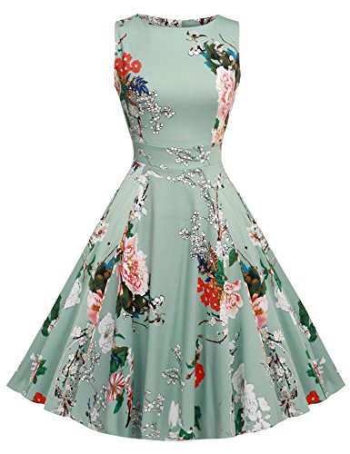 Acevog Mujer Vintage Vestido Años 50 Falda Impresión Floral Sin Mangas Vestidos de Fiesta