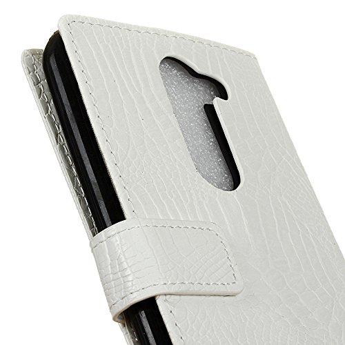 YHUISEN LG X Mach Case,Mode Kreativ Krokodil Textur Design Flip Wallet PU Ledertasche Für LG X Mach ( Color : White ) White