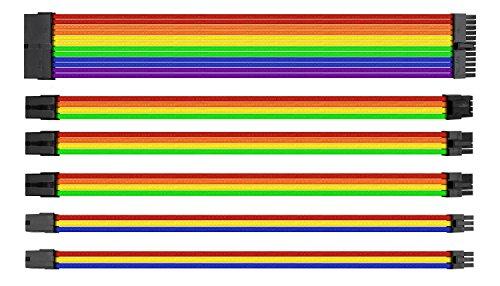 Cavi, Tovaglia e accessori interni-Thermaltake Combo Pack ttmod-Rainbow-Kit di cavi alimentazione con manicotti