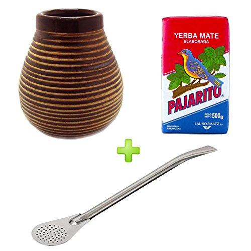 Tazza per erba mate in ceramica di colore marrone, inclusa cannuccia Bombilla in acciaio inox e erba mate Pajarito Elaborada da 500g