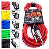 Premium Guitar / Instrument Cable (Red, 20ft / 6m, Straight Plugs) - Achieve