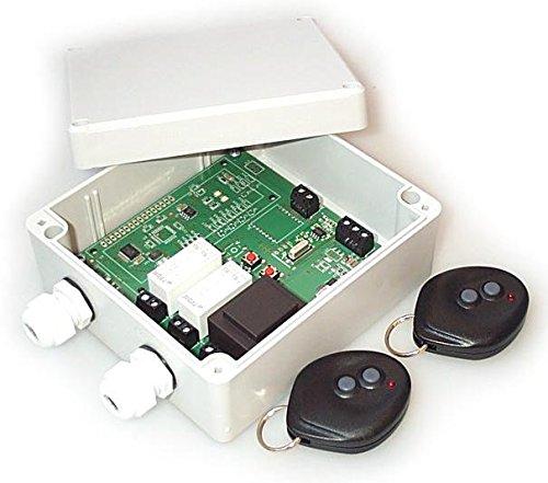Set 2x Handsender und Funk Empfänger Steuerung für alle 433MHz Sender mit Keeloq, universal programmierbar, 2 Kanal 12V 24V ADK-8-Set als Garagensteuerung, Lampensteuerung, Jalousiesteuerung, Pumpensteuerung etc. einsetzbar