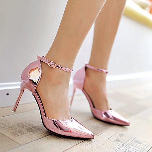 Damen Moderne Pumps Lackleder Stiletto Anti-Rutsch Atmungsaktiv Schnalle Hochzeitschuhe Pink,7CM