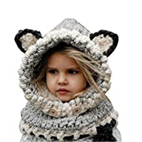 Azornic Baby Girls Boys Winter Hat Scarf Earflap Hood Scarves Caps for 2-8 Years Kids (Gray)(Size: M)