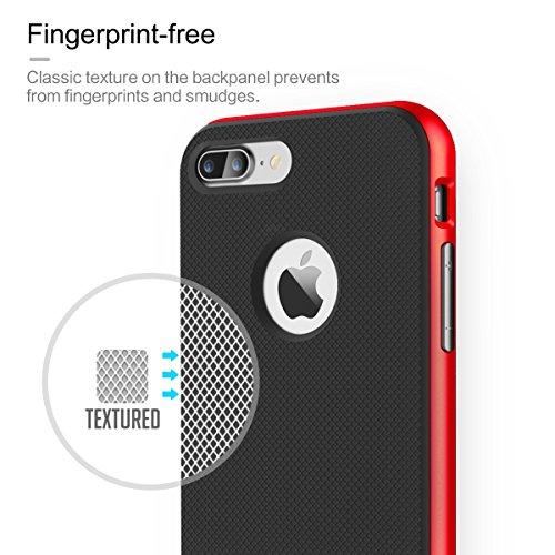 ROCK IPhone 7 Plus Case Étui de protection de 5.5 pouces Anti-Slip Anti-Scratch Housse de pare-choc Importé TPU avec PC de haute résistance pour Apple IPhone 7 Plus ( Color : Black , Size : Iphone7 ) Red