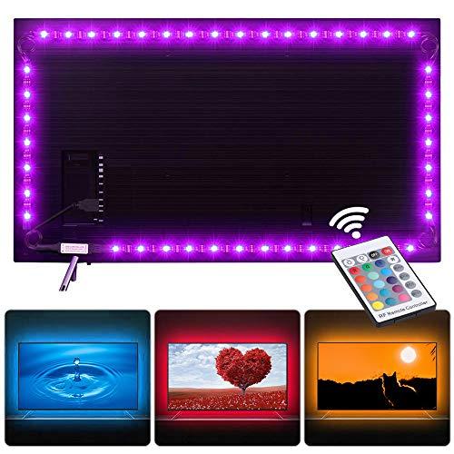 LED Strip 2M BrizLabs USB TV Hintergrundbeleuchtung LED Streifen RGB LED Fernseher Beleuchtung Leiste Lichtband mit 24-Key RF Fernbedienung für 40-60 Zoll HDTV, TV-Bildschirm, PC-Monitor, Haus, Party
