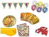 XXL Party Deko Set 1.Geburtstag Winnie Pooh Kindergeburtstag für 20 Personen 70 teilig Mädchen Junge Party Geschirr
