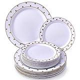 Silver Spoons & More Servizio da TAVOLA 40 PZ MONOUSO per Feste   20 Piatti Normali e 20 Piattini da Insalata   Stile Porcellana Fine ed Elegante   per Cene e Matrimoni Raffinati (Pois - Bianco/Oro)