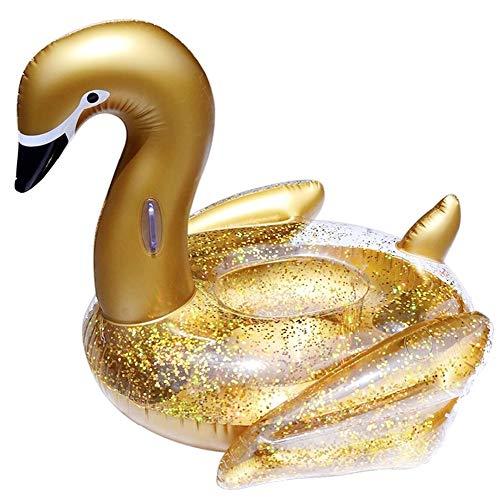Colchón Hinchable de Cisne con Lentejuelas Doradas, 122 cm