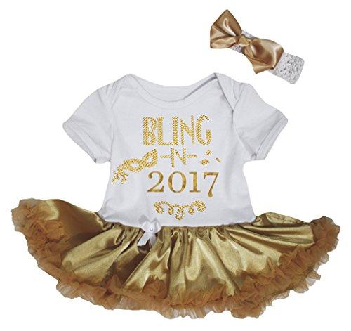 (Petitebelle Bling N 2017 White Bodysuit Gold Tutu Nb-18m (0-3 Months))