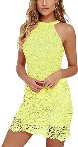 Damen Sommerkleid Vintage Ärmellos Spitzenkleid Ballkleid cocktailkleid Retro Rockabilly Festlich Partykleid 6 Farbe Gelb-L (Spitze-gelbe Rote Spitze)