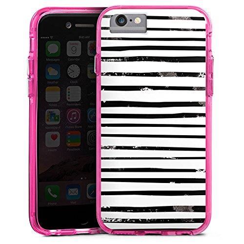 Apple iPhone 6s Bumper Hülle Bumper Case Glitzer Hülle Streifen Stripes Schwarz Weiss Bumper Case transparent pink