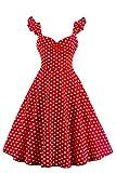MisShow® Neckholder Rockabilly 50er Vintage Retro Kleid Petticoat Faltenrock