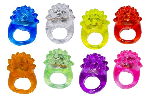 Blinkring 8er Set - Das Original - Mallorca-Edition - Blinkende LED Party Ringe (1 Zufallsfarbe)