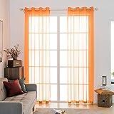 MIULEE 2 Pannelli Tende Voile Leggeri Trasaprenti Decorative con Occhielli per Soggiorno e Camera da Letto 140x260cm Arancione