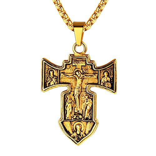 FaithHeart für Männer Halskette mit Kruzifix Groß Anhänger 18K vergoldet Kette Geld Vintage Schmuck