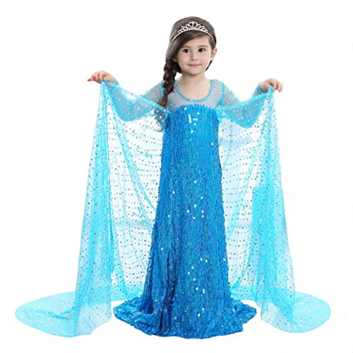 Mädchen Ice Queen Prinzessin Pailletten Glitzer Kleid, Girl 's Princess Halloween-Kostüm Cosplay Fancy Kleid Party Outfit (Halloween-kostüme Princess)