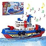 Kinder Wasser Spielzeug,UPGOO Spielzeug für Die Badewanne Boot Spielzeug Kinder Schiff Wasser Spritzfunktion Musik Licht Elektrische Marine Rettung Schiff Spielzeug Lernspielzeug ab 3 4 5 Jahre