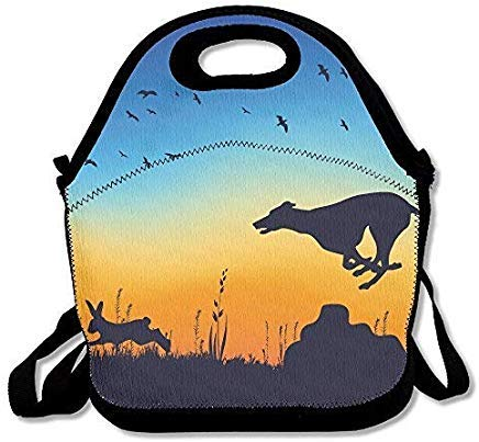 Lunch Bag Tote Boxes Bags Lunch Box Whippet Chasing Rabbit Lunch Boxes Adjustable Strap -