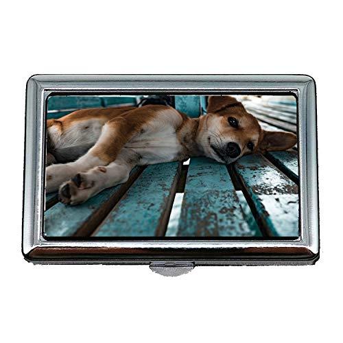 Zigaretten-Aufbewahrungsbehälter / -kasten, Welpe, der Hundehaustier-Tier-Eckzahn-niedliches Baby legt, Visitenkartenhalter-Geschäfts-Karten-Kasten rostfrei