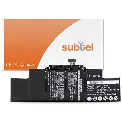 subtel® Qualitäts Akku (8600mAh) für MacBook Pro 15 Retina - A1398 - (Mid 2012 / Early 2013) A1417 Notebookakku Laptopakku Ersatzakku Batterie (Mac Book Pro Retina Akku)