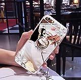 EUWLY Coque Samsung Galaxy J1 2016, Samsung Galaxy J1 2016 Silicone Cas,Coque Samsung Galaxy J1 2016 Miroir [ Bague Supporter] Luxe Crystal Rhinestone Bling Diamant Briller TPU Souple en Caoutchouc Pare-chocs de Cas Miroir de Maquillage de Cas Caoutchouc Silicone Souple Étui Protecteur Ultra Mince Anti Choc Anti-scratch Bumper pour Samsung Galaxy J1 2016 + 1 X Stylo Bleu - Fleurs de Diamant,Argent