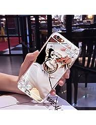EUWLY Coque Samsung Galaxy J7 Prime/On7(2016), Samsung Galaxy J7 Prime/On7(2016) Cas,Coque Samsung Galaxy J7 Prime/On7(2016) Miroir [ Bague Supporter] Luxe Crystal Rhinestone Bling diamant Briller TPU Souple en Caoutchouc Pare-chocs de Cas Miroir de Maquillage de Cas Caoutchouc Silicone Souple Étui Protecteur Anti-Scratch Bumper pour Samsung Galaxy J7 Prime/On7(2016) + 1 X Stylo Bleu - Fleurs de Diamant,Argent