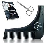 Bartschablone Inkl. Gratis ANLEITUNG, NASENHAARSCHERE und E-BOOK (Rasur- und Pflegetips) | Rasierhilfe mit Bartkamm für Dreitagebart oder Vollbart