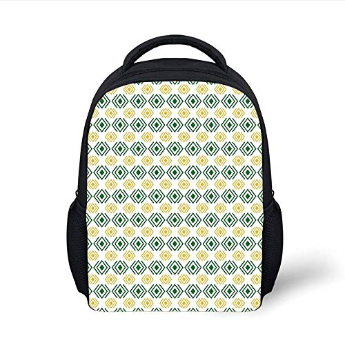 Kids School Backpack Retro,Geometric Diamond Icons Square Shaped Abstract Lines Illustration,Fern Green Light Yellow Plain Bookbag Travel Daypack