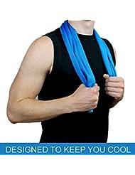Cooling Towel von amaup Fitness Kühl-Tuch Microfaser Handtuch Sport dünn ultra-leicht atmungsaktiv Ice-Towel 99x30 cm