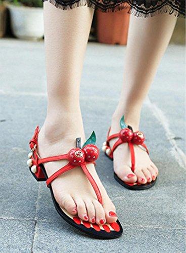 Chaussures d'été à talons bas sandales string perle cerise renversent les fraises plates Red