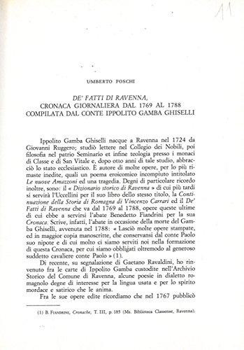 De' fatti di Ravenna, cronaca giornaliera dal 1769 al 1788 compilata dal conte Ippolito Gamba Ghiselli.