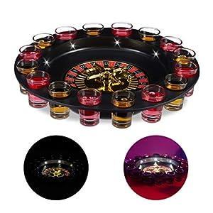 Relaxdays-10024095Ruleta Juego de Beber con función de LED, Beber Cerveza para Adultos con 16Shot Vasos, Juego para Fiestas, Color Rojo/Negro