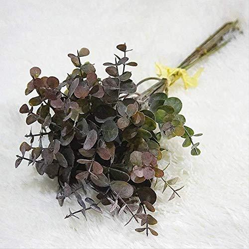 QYYDGH Retro Elegante schöne 6 stücke Haufen Künstliche Blumen Eukalyptus Künstliche Pflanzen Faux Kunststoff Hand Bouquet Für Hochzeit Dekoration Gefälschte Pflanze Wand schwarz