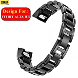 #3: Taslar® Stainless Steel Metal Replacement Accessory Bracelet Strap Wrist Watch Band For Fitbit Alta HR - Small - Large,(Black)