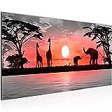 Bilder Afrika Sonnenuntergang Wandbild Vlies - Leinwand Bild XXL Format Wandbilder Wohnzimmer Wohnung Deko Kunstdrucke Rot Grau 1 Teilig - MADE IN GERMANY - Fertig zum Aufhängen 000212b