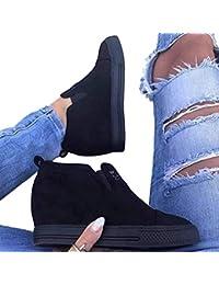junkai Chaussures Femme Baskets en Daim Bottines Compensées Femme Bottes  Talon Haute Semelle Plateforme Élégant Bottillons f77689f5468