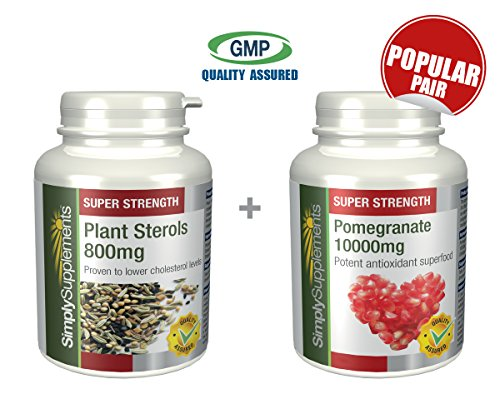 Plant Sterols 800mg 120 Tablets + Pomegranate 10000mg 240 Tablets   May Support Cholesterol & Heart   100% money back guarantee   Manufactured in the UK