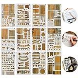 Zeichenschablonen-Set zum Verzieren von Tagebüchern, Notizbüchern, Scrapbooks, Grußkarten und andere Bastelarbeiten - 12er-Pack