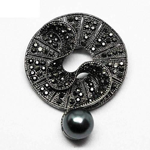 BROOCHES Home Brosche Black Diamond Kristall Perle Brosche Lady Temperament Retro Imitation Perle Corsage Kostüm Schmuck Herbst und (Diamond Womens Kostüm)
